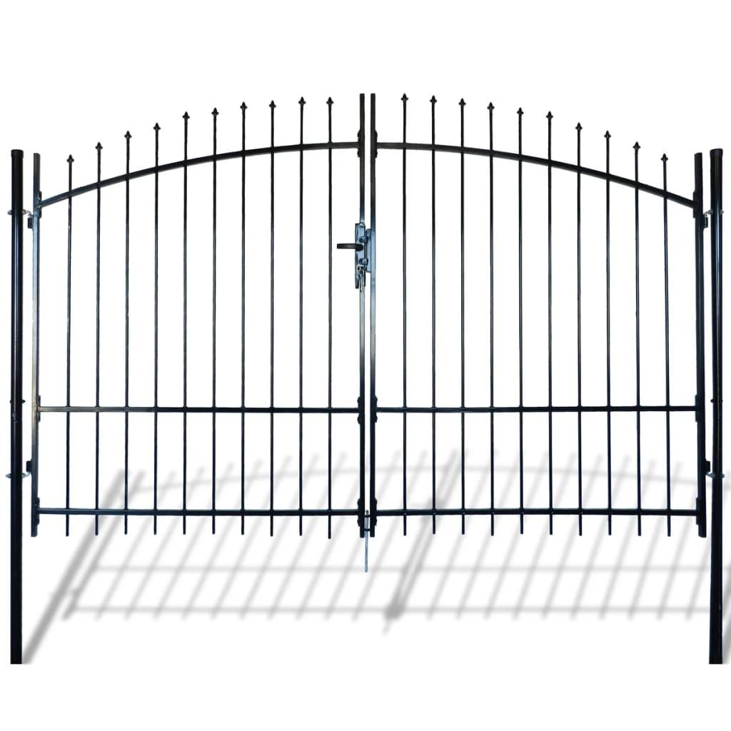 vidaXL Dupla Kapus Fekete Nyílhegyű Kerítés 300 x 225 cm