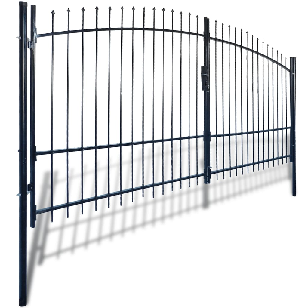 Vidaxl Co Uk Double Door Fence Gate With Spear Top 400 X