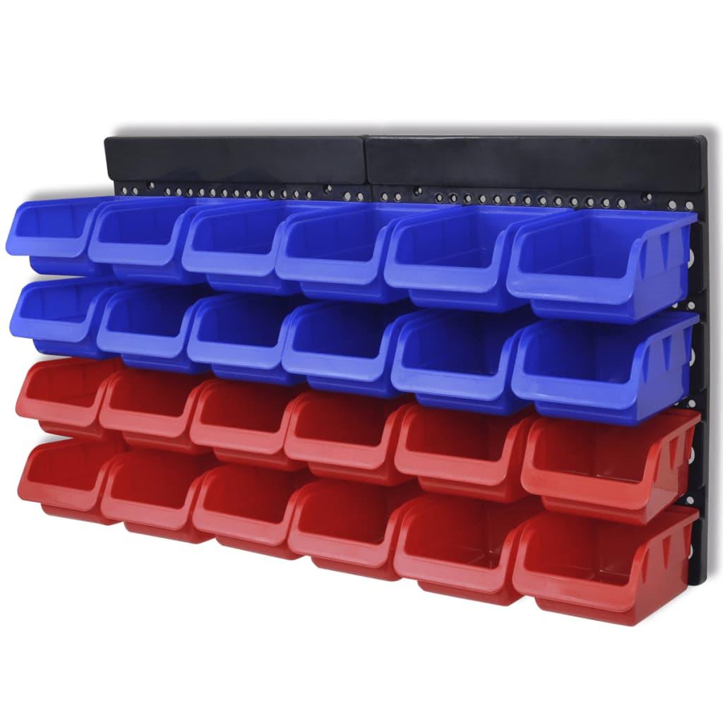 vidaXL 2 paneles falra szerelhető polc garázsba kék & piros