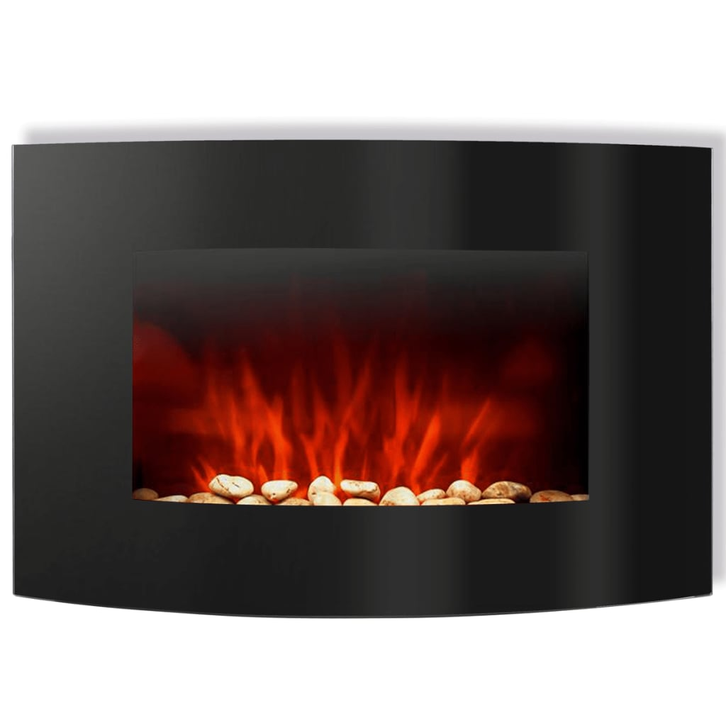 Curved wall mounted electric fireplace 2000 w with remote for Curved wall