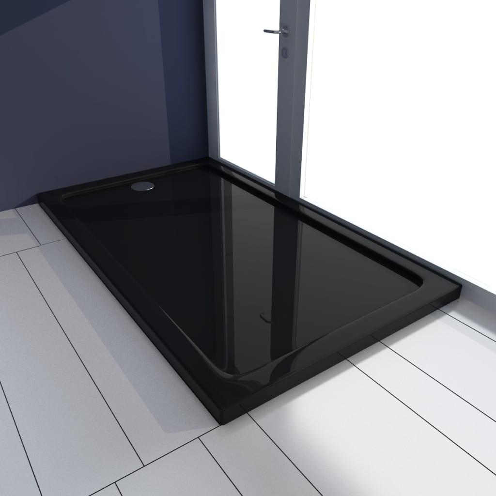 vidaXL Szögletes ABS zuhany alaptálcával 70 x 120 cm fekete