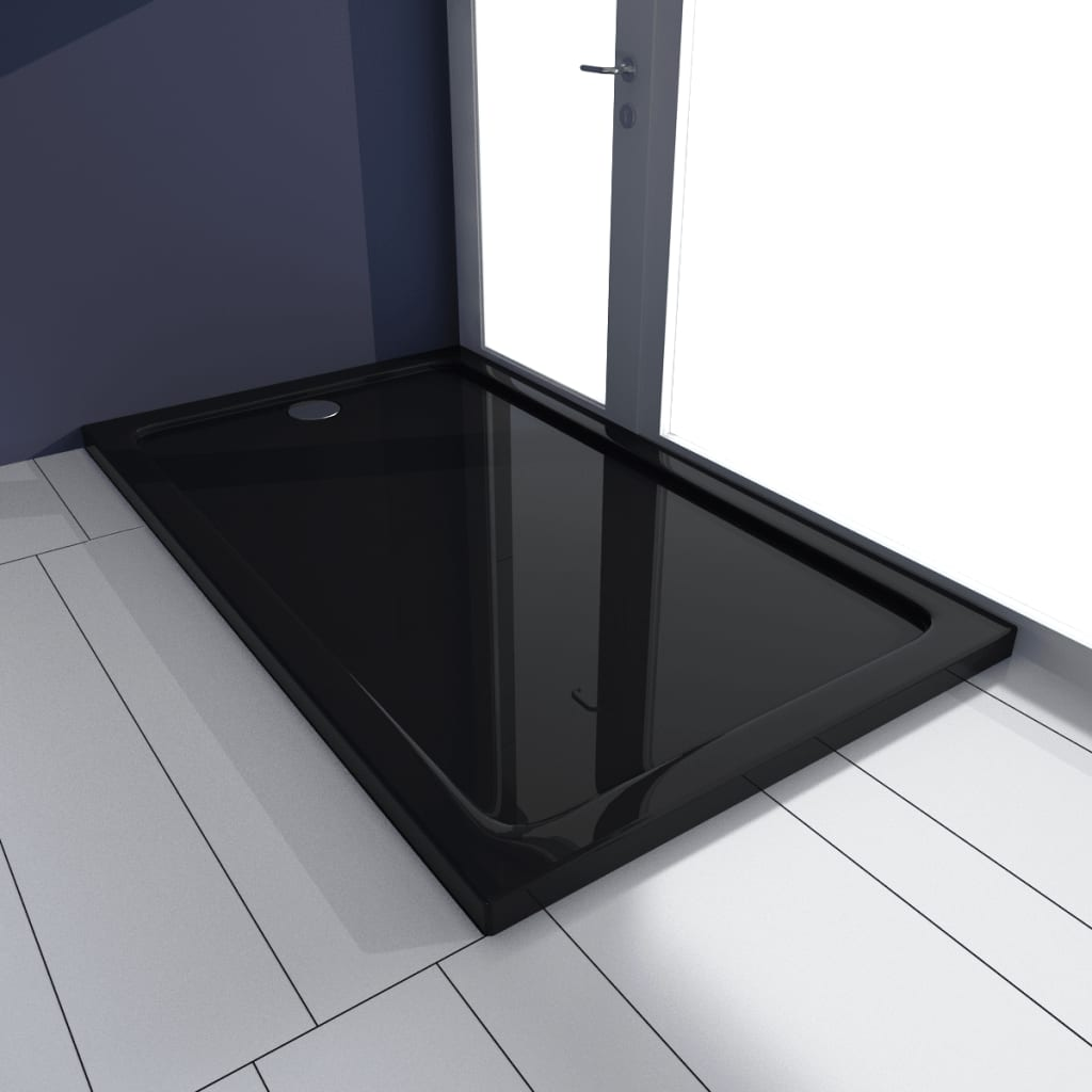 vidaXL Rectangular ABS Shower Base Tray Black 70 x 120 cm