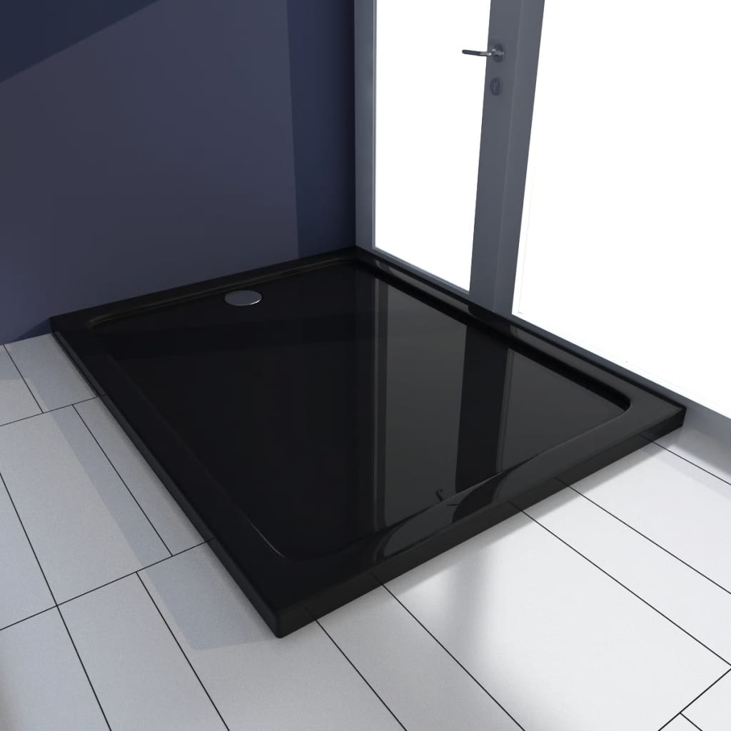 vidaXL Rectangular ABS Shower Base Tray Black 80 x 100 cm
