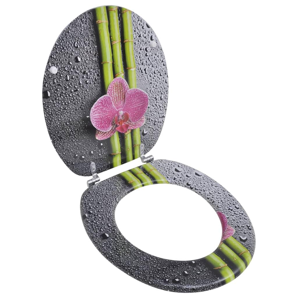 vidaXL WC Ülőke MDF bambusz & virág tervezés