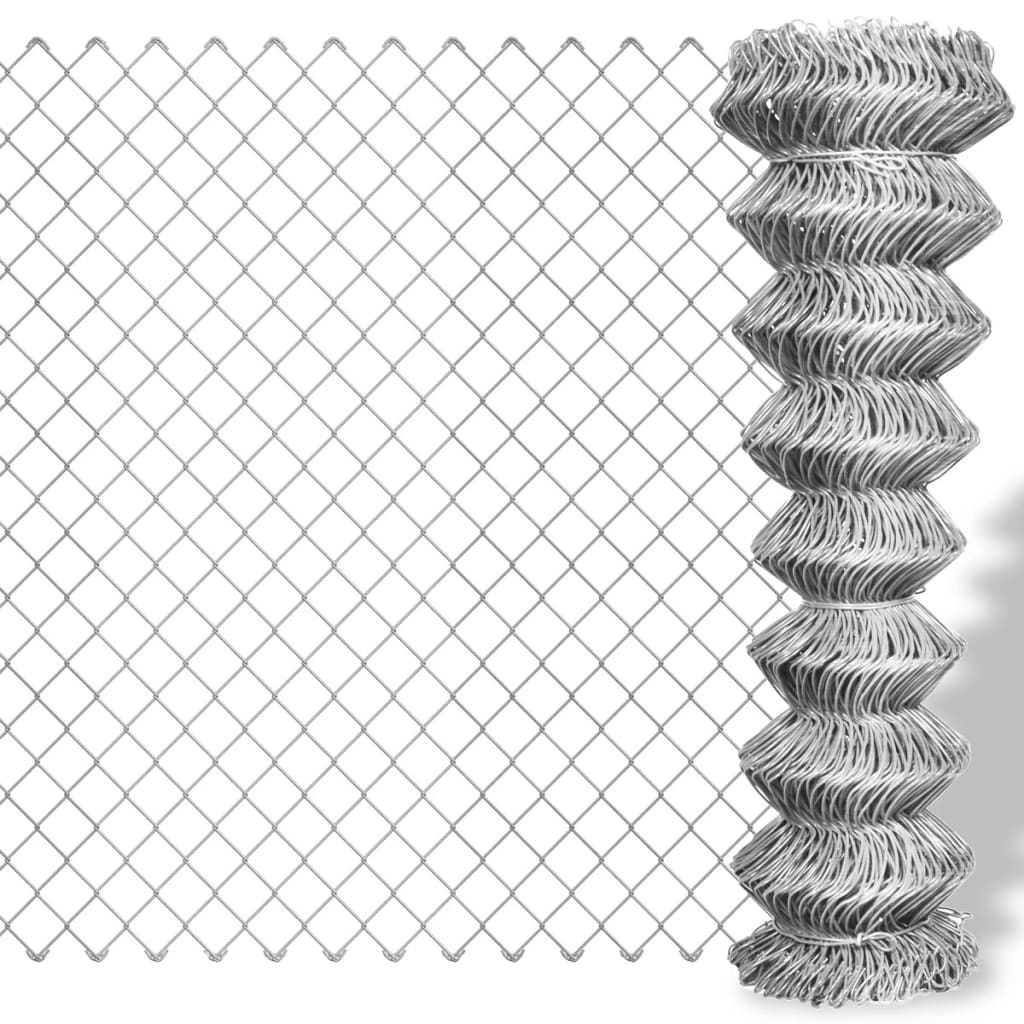Vidaxl Co Uk Galvanised Chain Link Fence 15 X 1 M