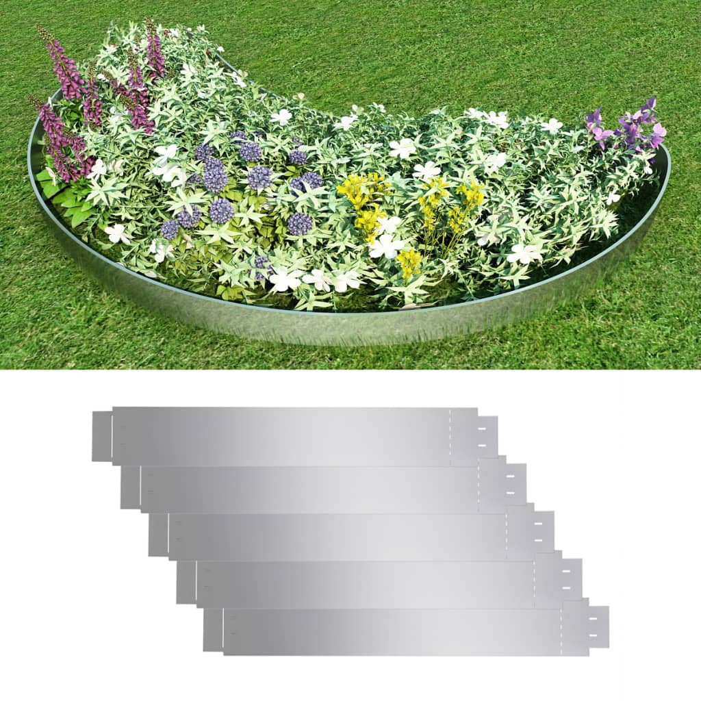vidaxl garden steel silver lawn edge edging border fence flexible