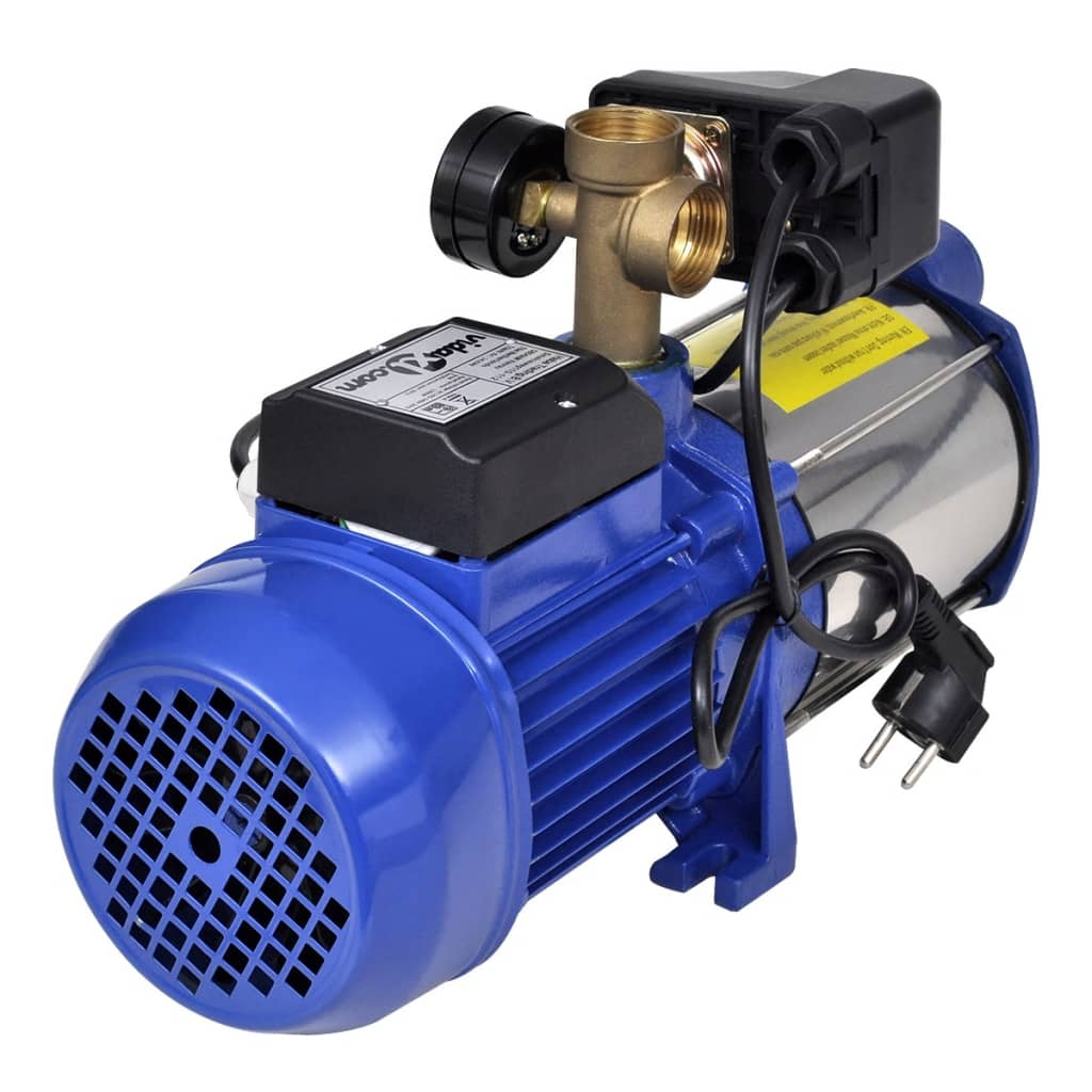 Jet pomp met waterdrukmeter 1300 w 5100 l u blauw online for Aanbieding zwembad met pomp