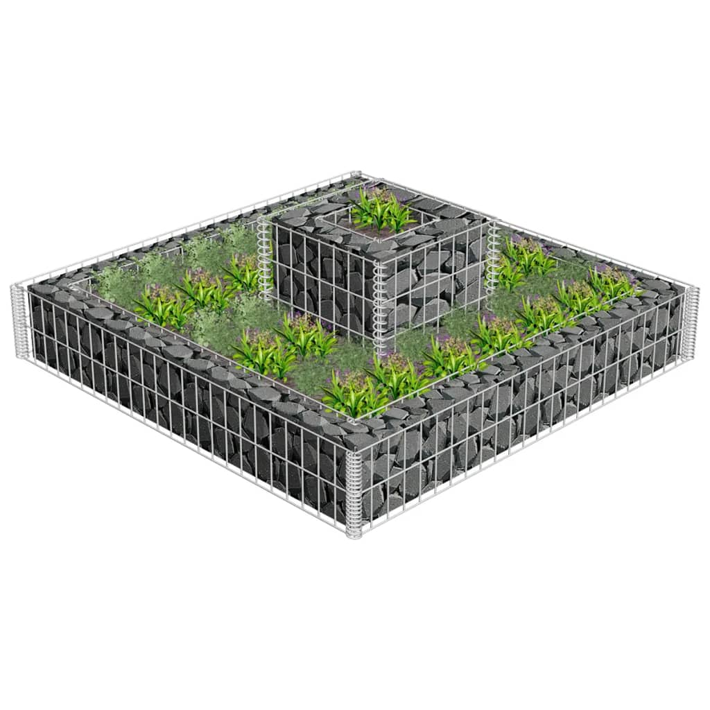 2 tiered gabion planter. Black Bedroom Furniture Sets. Home Design Ideas