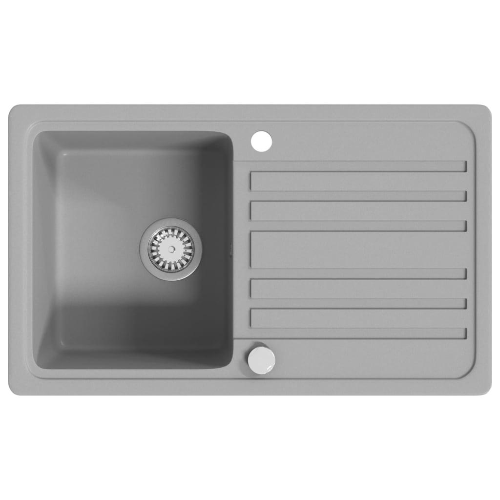 granit k chensp lbecken mit abtropffl che umkehrbar grau g nstig kaufen. Black Bedroom Furniture Sets. Home Design Ideas
