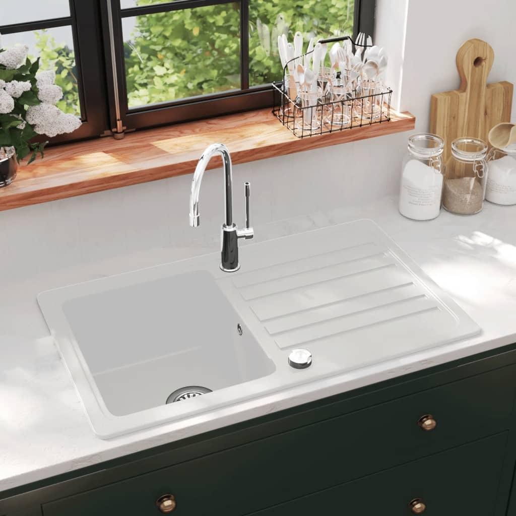 vidaXL Gránit konyhai szűrőkosaras egymedencés fordítható mosogató krém fehér