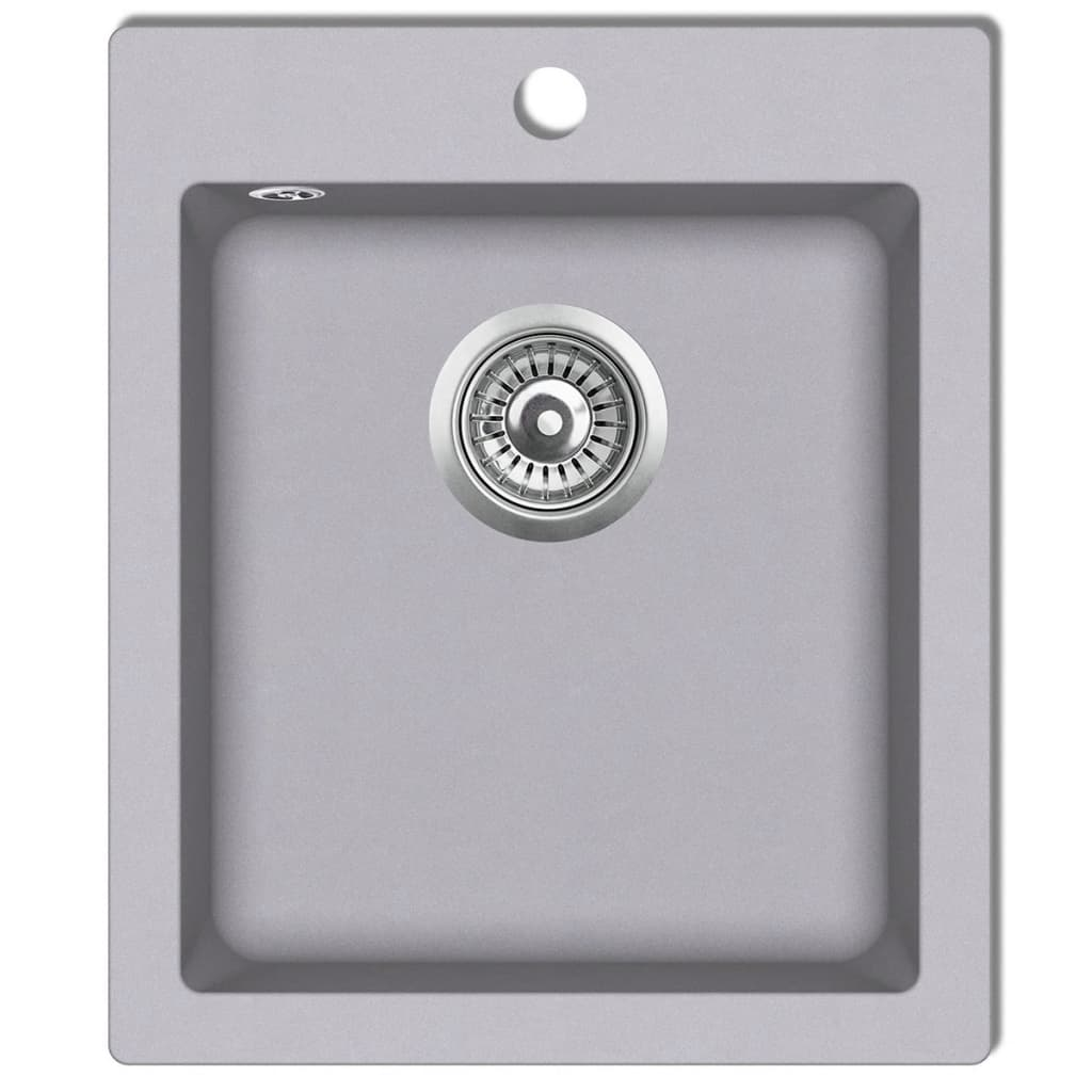 Overmount kitchen sink single basin granite grey vidaxl - Overmount sink kitchen ...