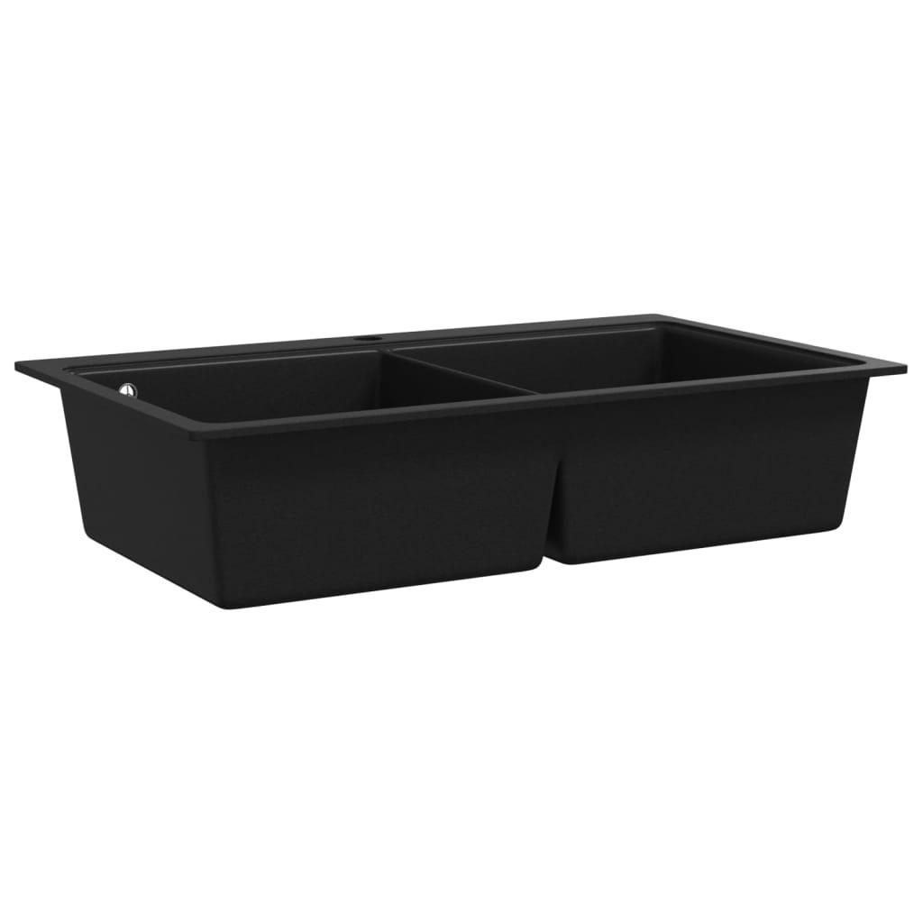 Lavandino cucina granito nero lavello doppio con montaggio sopra - Lavello cucina dimensioni ...