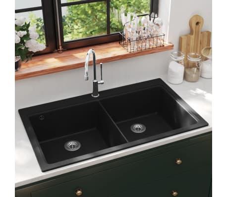 der auflage doppel k chensp lbecken granit schwarz online shop. Black Bedroom Furniture Sets. Home Design Ideas