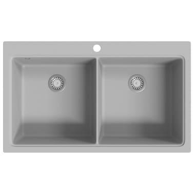 auflage doppel k chensp lbecken granit grau g nstig kaufen. Black Bedroom Furniture Sets. Home Design Ideas