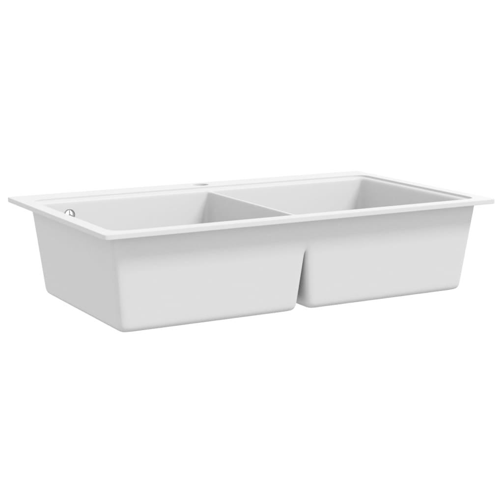 auflage doppel k chensp lbecken granit cremewei g nstig kaufen. Black Bedroom Furniture Sets. Home Design Ideas