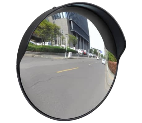 "Convex Traffic Mirror PC Plastic Black 12"" Outdoor"