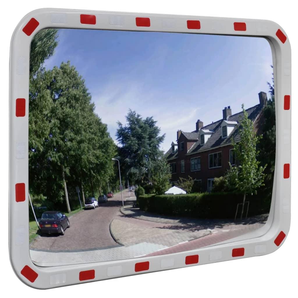 Espejo convexo rectangular para el tr fico con reflectores for Espejo rectangular pared