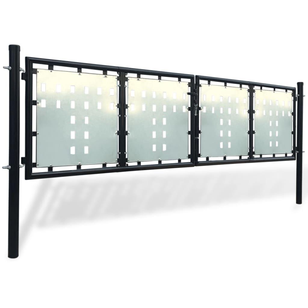Acheter portillon de jardin double noir 300 x 125 cm pas for Acheter portillon
