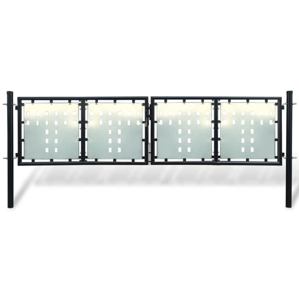 Acheter portillon de jardin double noir 300 x 125 cm pas for Portillon solde