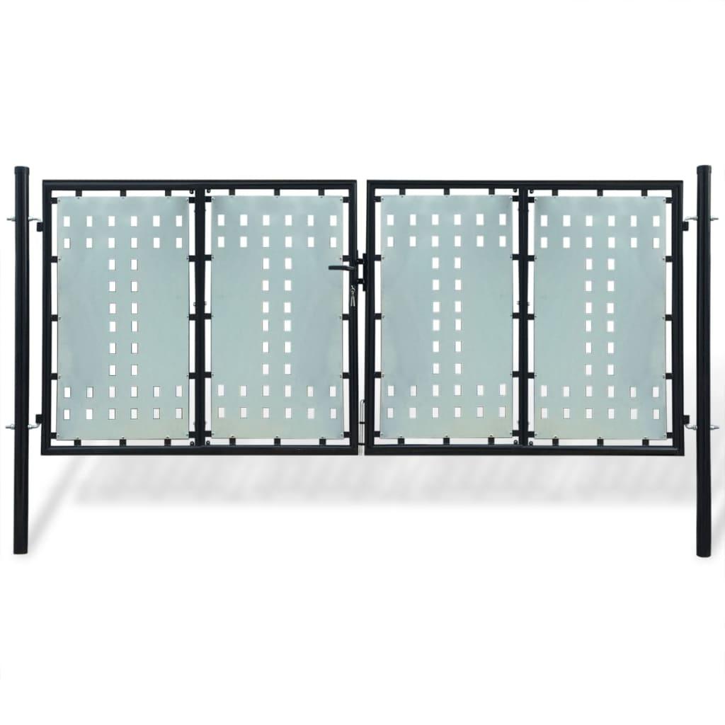 acheter portillon de jardin double noir 300 x 175 cm pas cher. Black Bedroom Furniture Sets. Home Design Ideas