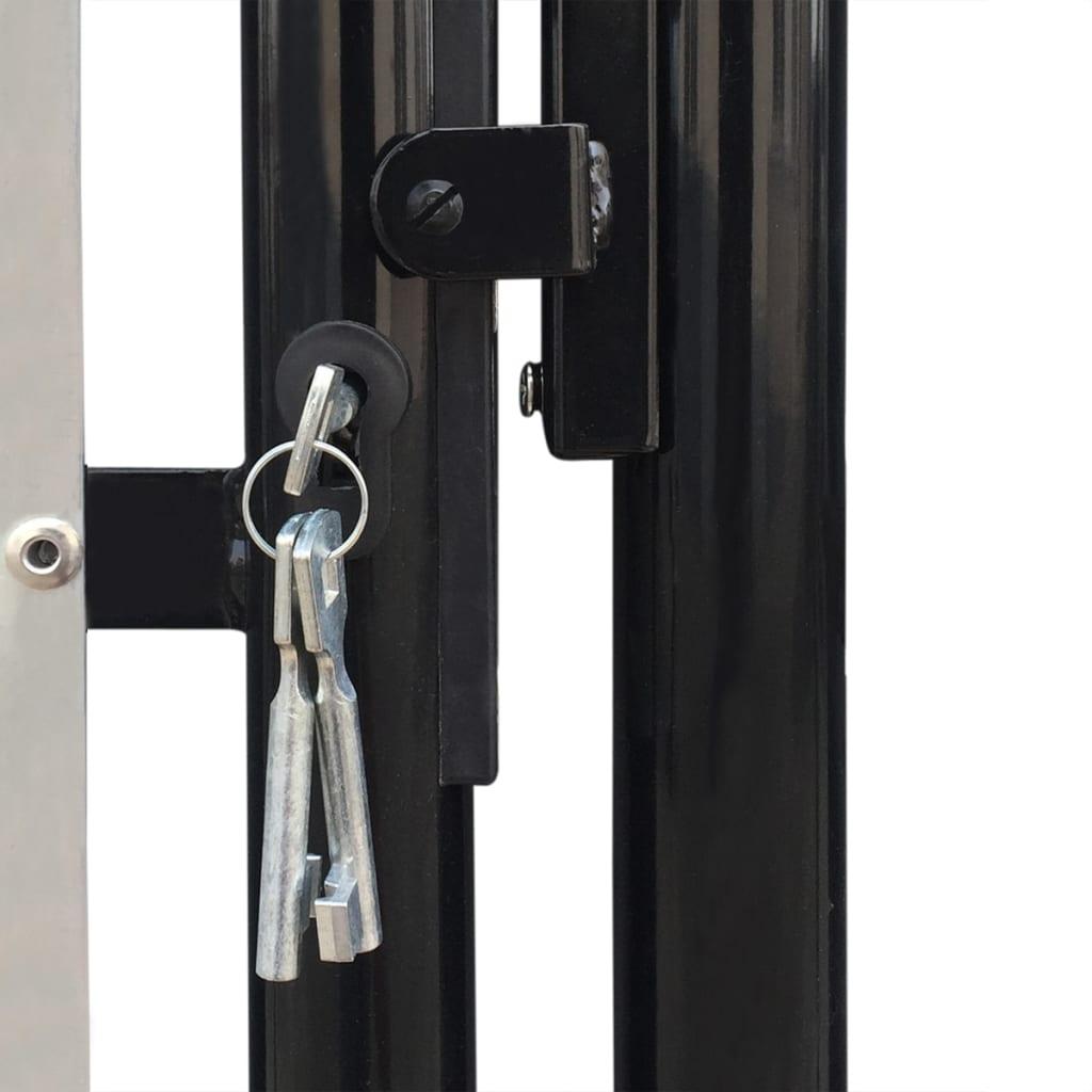 Verja negra con dos puertas de entrada 300 x 200 cm for Puertas 75 x 200