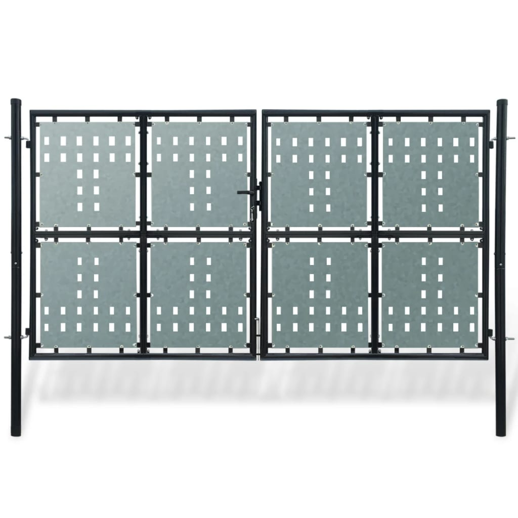 vidaXL 2 ajtós kapu 300 x 225 cm fekete