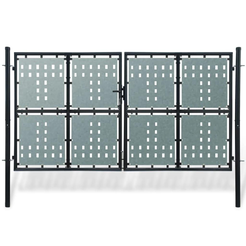 vidaXL 2 ajtós kapu 300 x 250 cm fekete