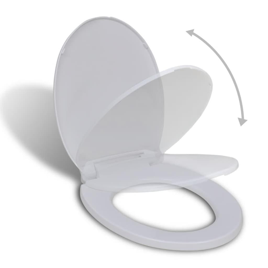 vidaXL Lassú csukódású kerek WC ülőke fehér