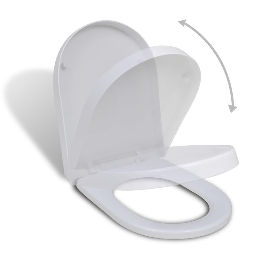 vidaXL Lassú csukódású szögletes WC ülőke fehér
