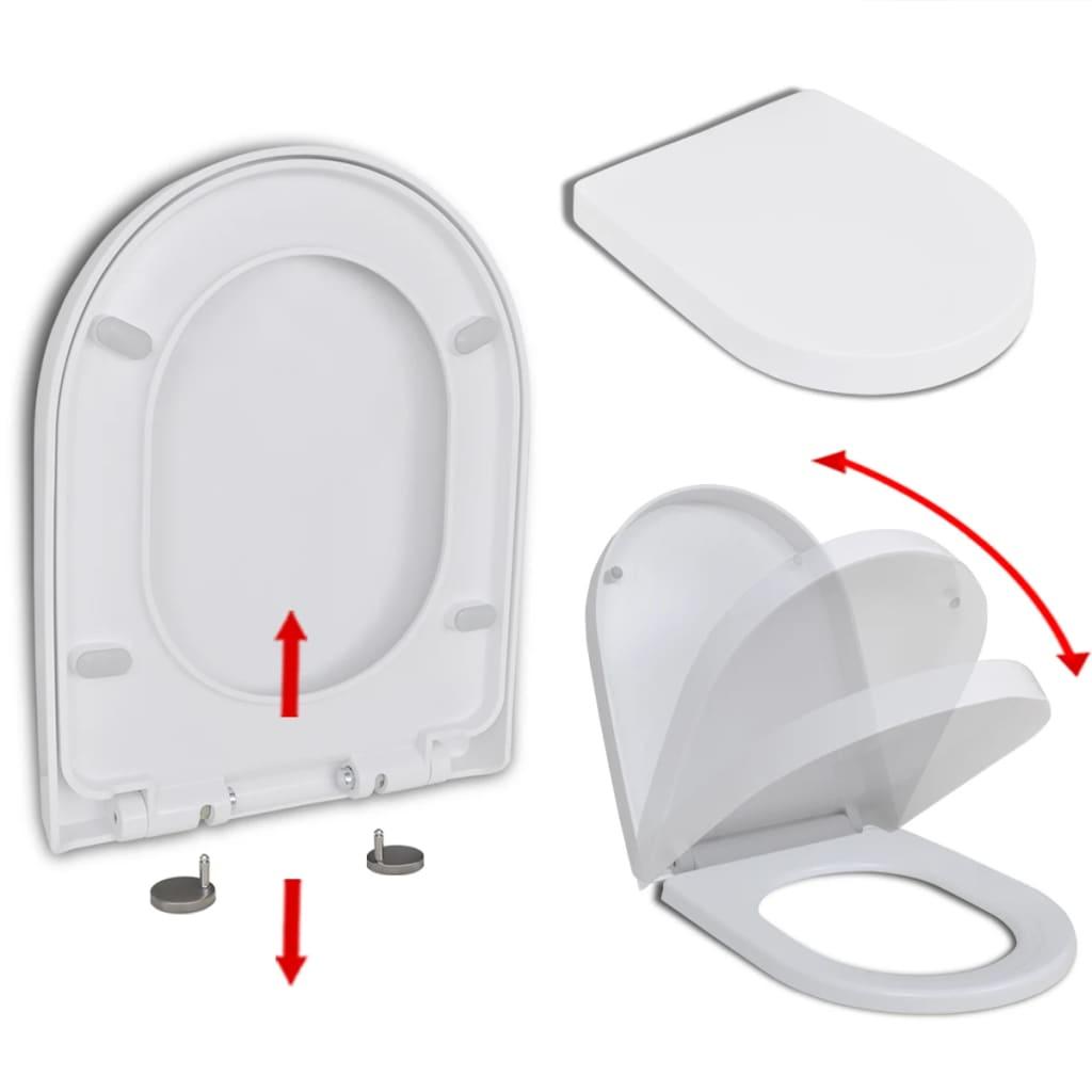 vidaXL Lassú csukódású szögletes gyorskioldós WC ülőke fehér
