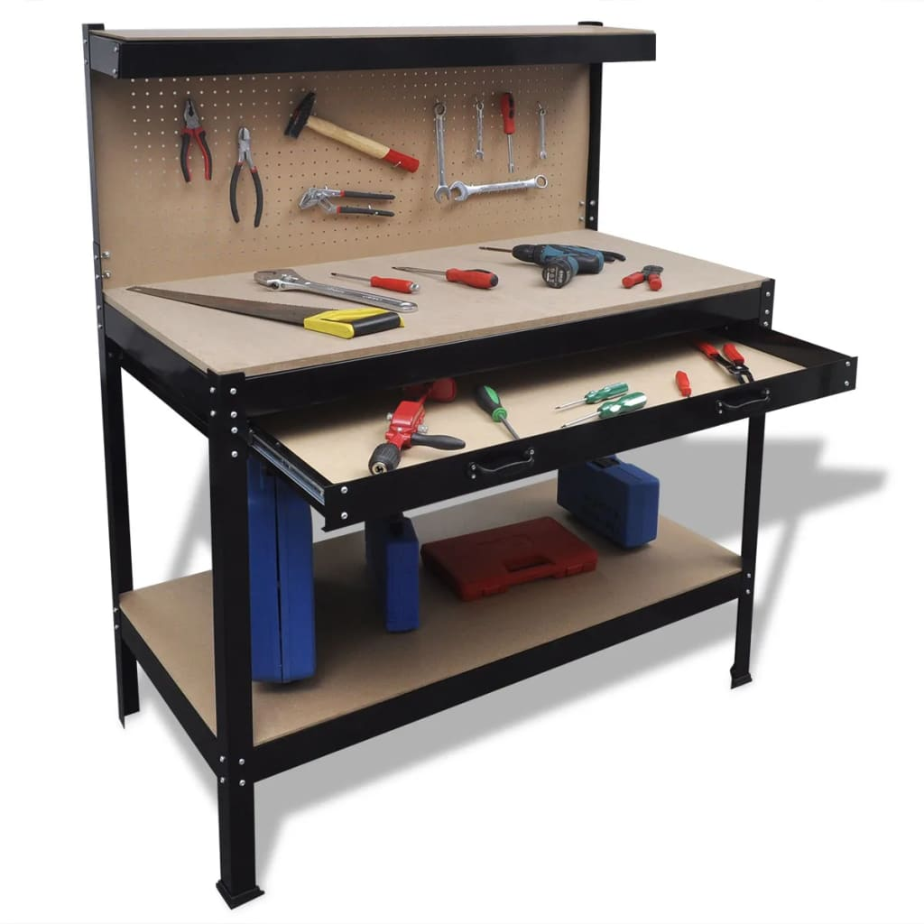 Workbench With Pegboard And Drawer Vidaxl Com