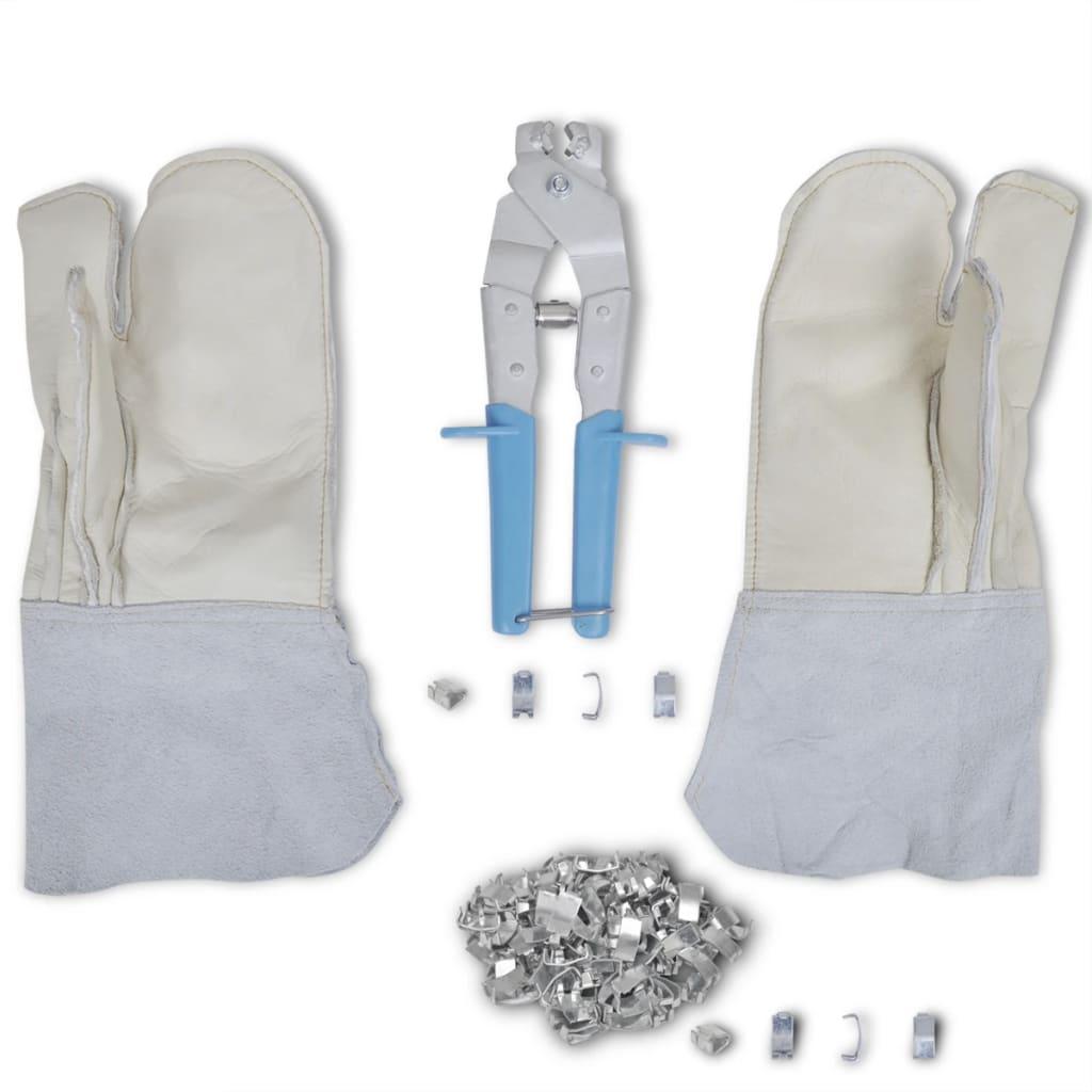 Afbeelding van vidaXL NATO prikkeldraad bevestigingsset + tang handschoenen & 200 klemmen