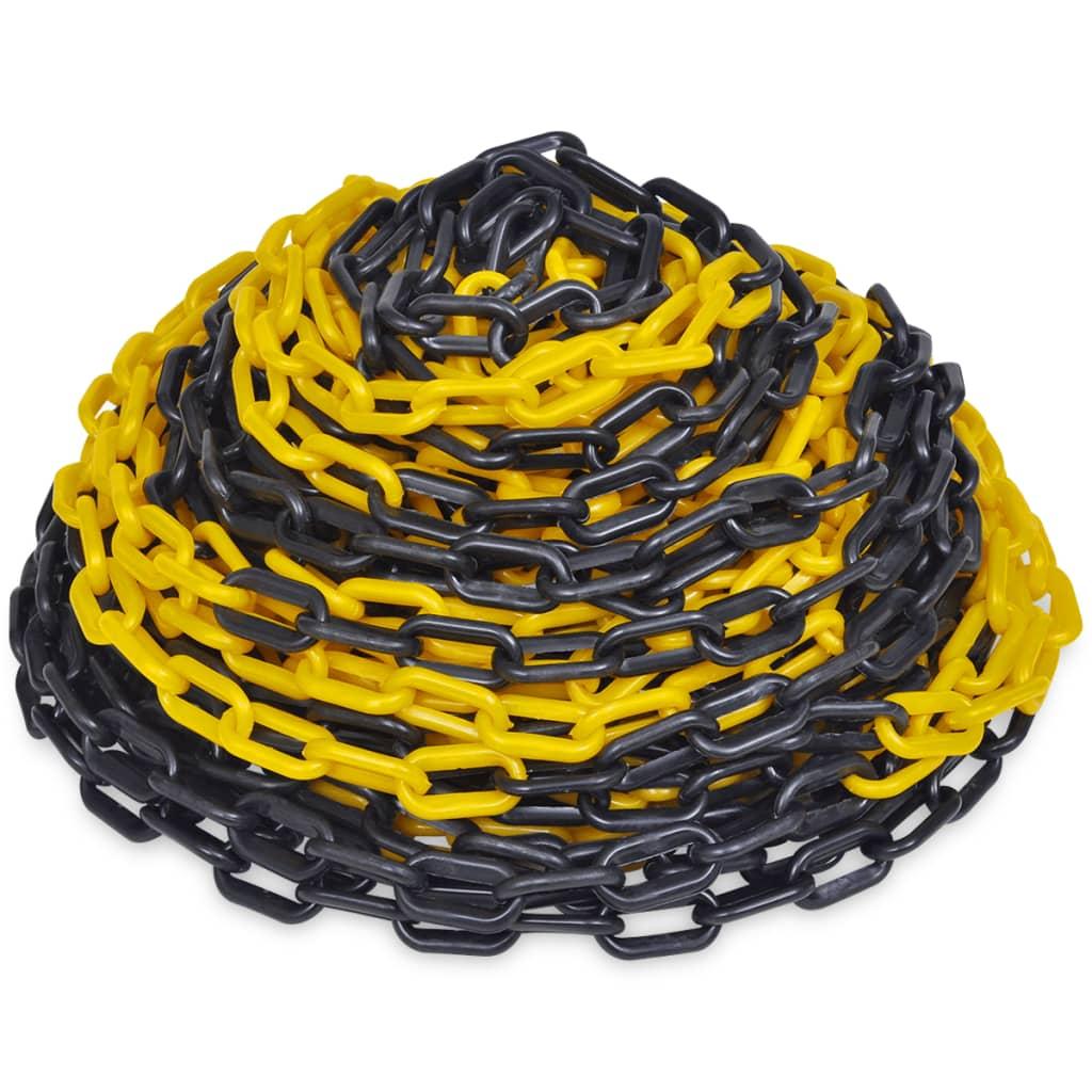 vidaXL 30 m műanyag jelző lánc fekete és sárga