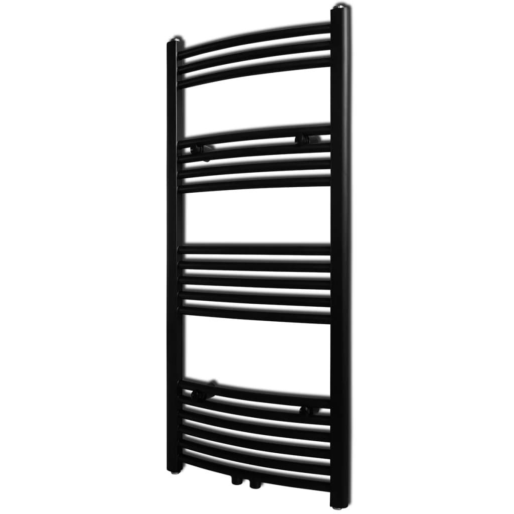 black bathroom central heating towel rail. Black Bedroom Furniture Sets. Home Design Ideas