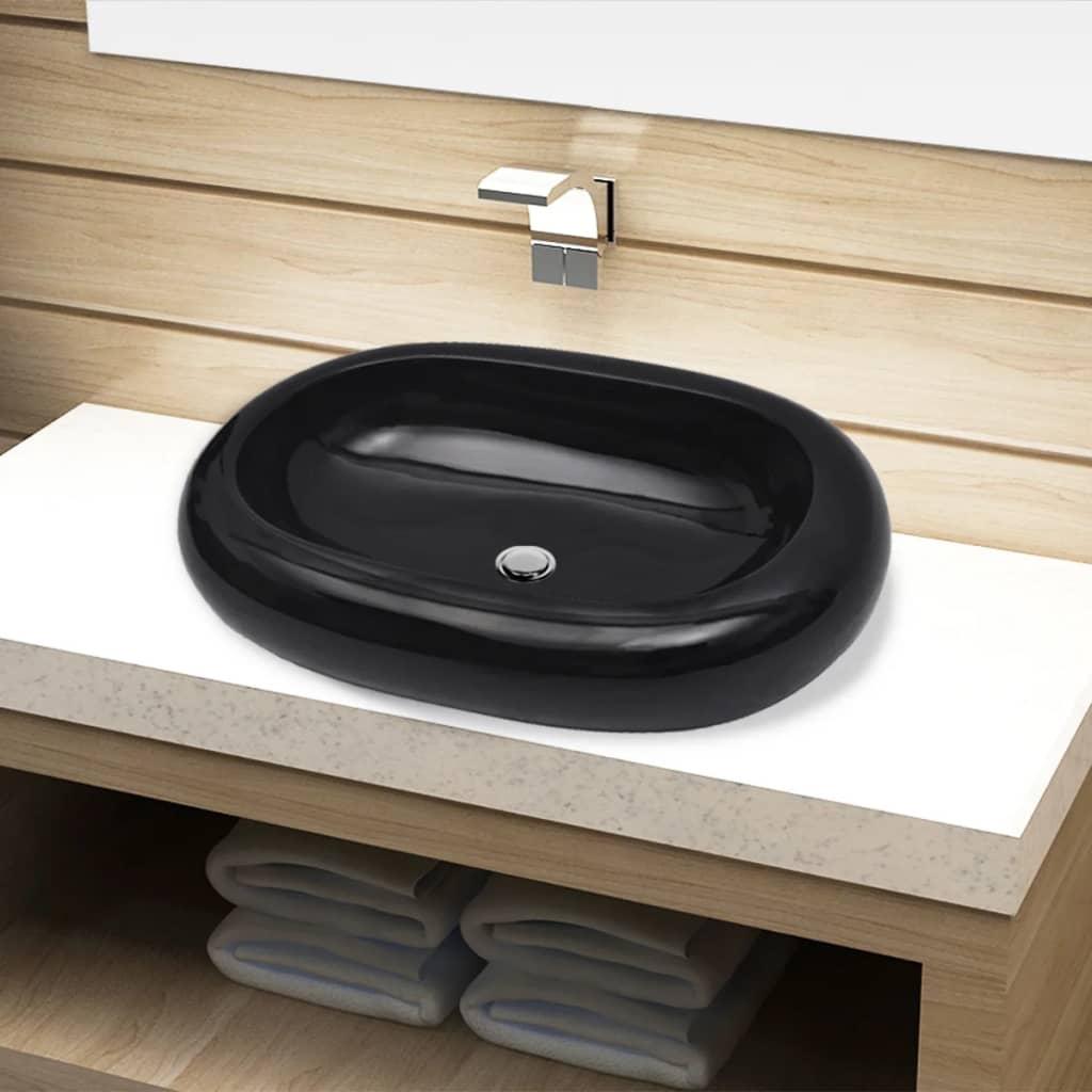 acheter vasque ovale c ramique noir pour salle de bain pas cher. Black Bedroom Furniture Sets. Home Design Ideas