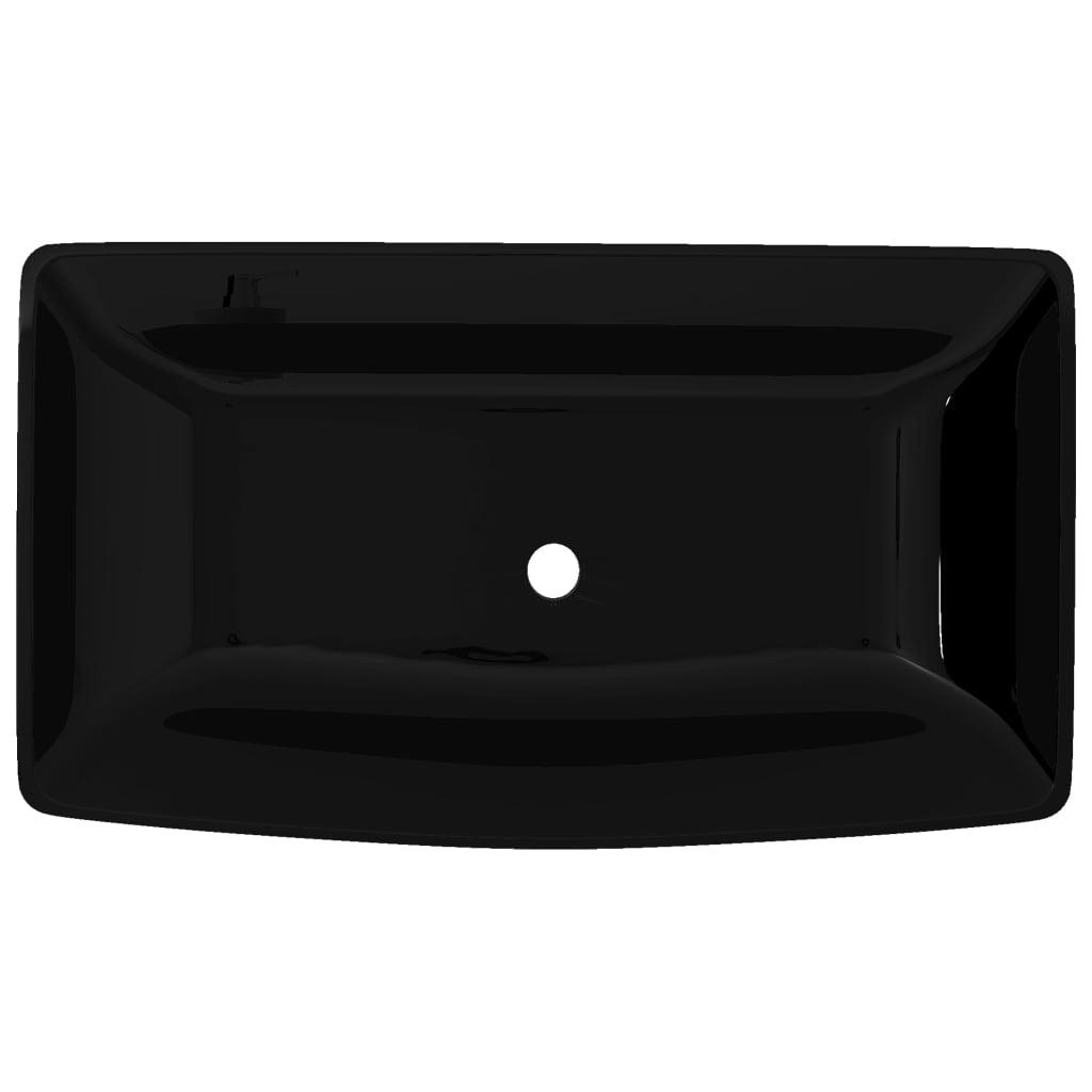 la boutique en ligne vasque rectangulaire c ramique noir pour salle de bain. Black Bedroom Furniture Sets. Home Design Ideas