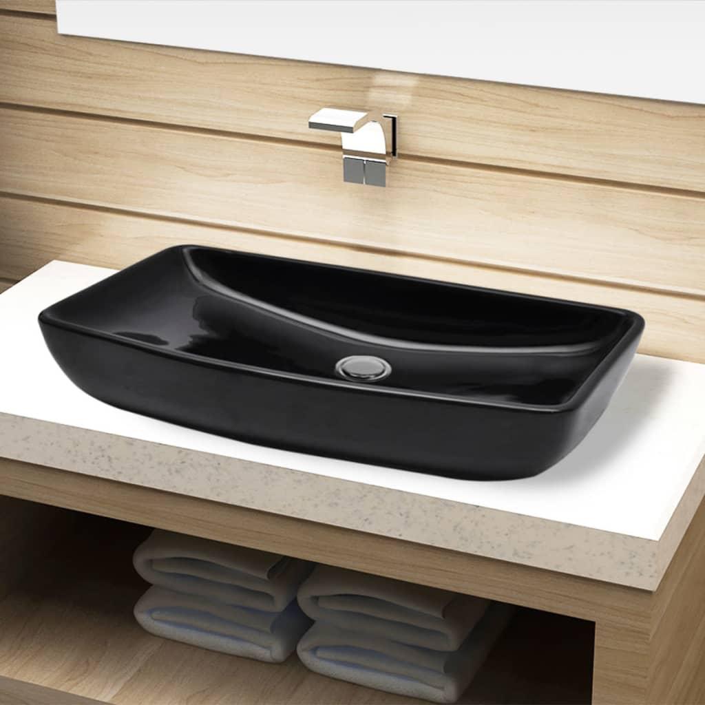 Acheter vasque rectangulaire c ramique noir pour salle de for Vasque salle de bain noire