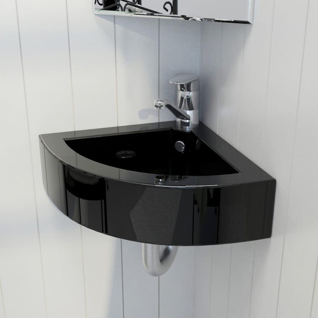 Sanitari bagno lavandino rotondo ceramica nera bianca con foro trabocco ebay - Rubinetteria bagno nera ...