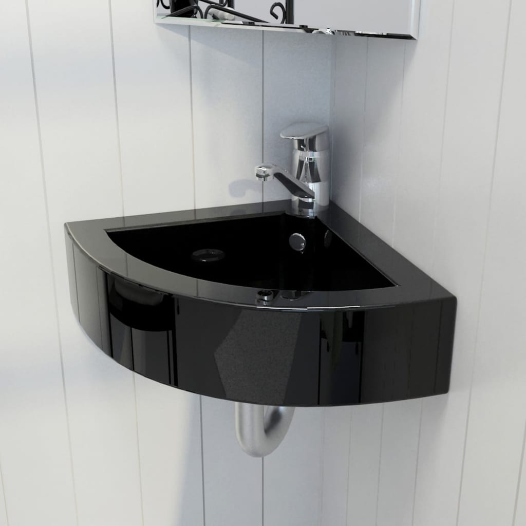 Ceramic Bathroom Sink Basin Faucet Overflow