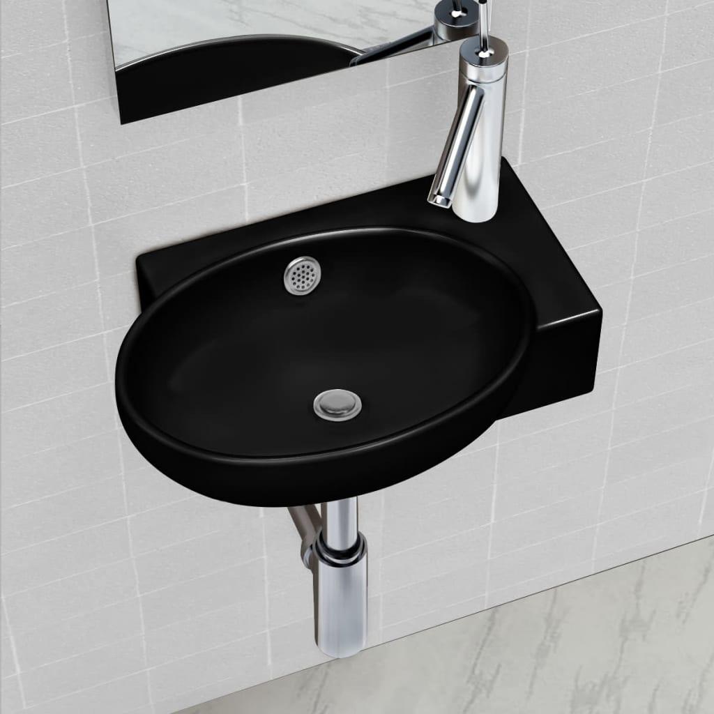 Ceramic Bathroom Sink Basin Faucet Overflow Hole Black