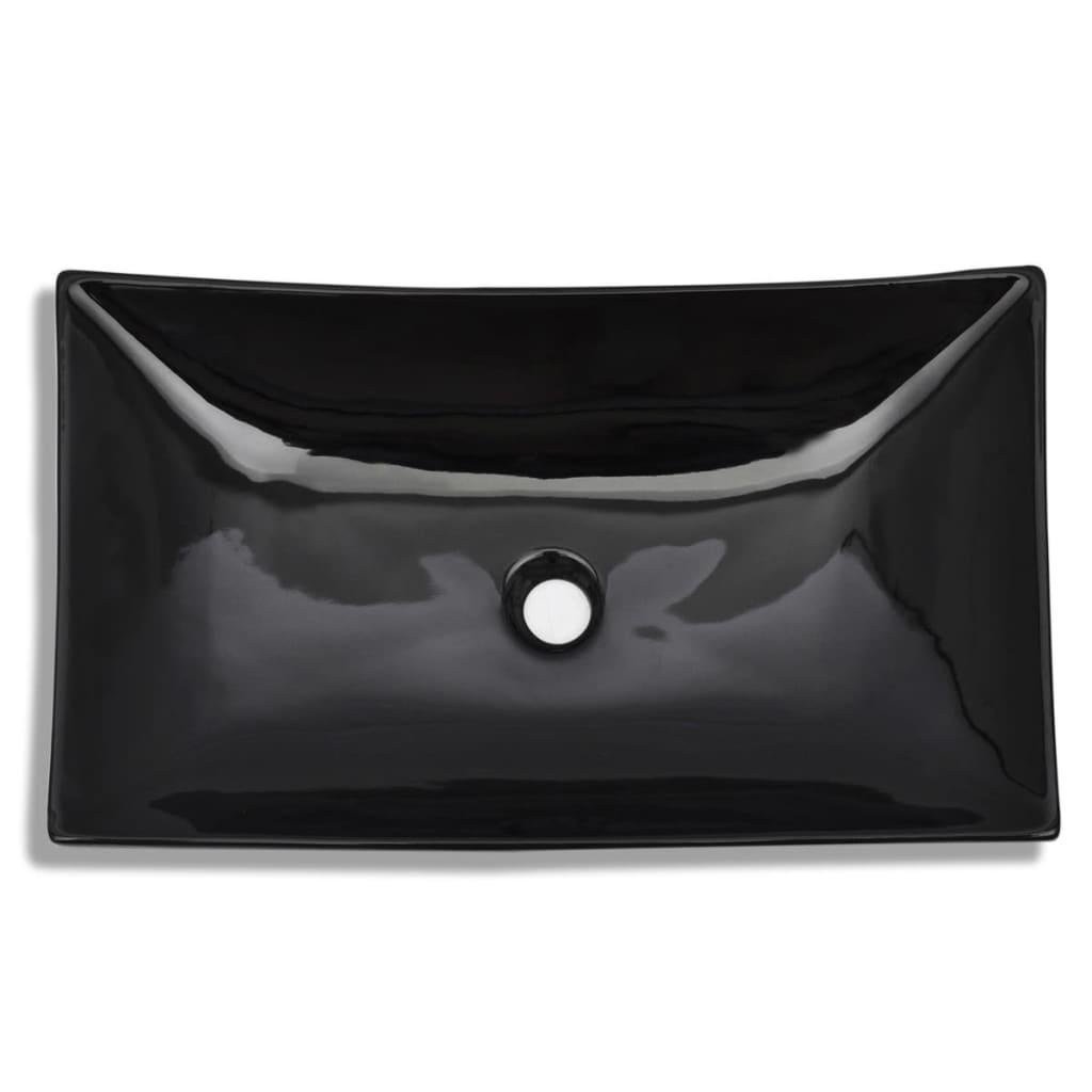 Acheter vasque rectangulaire c ramique noir pour salle de for Acheter salle de bain pas cher