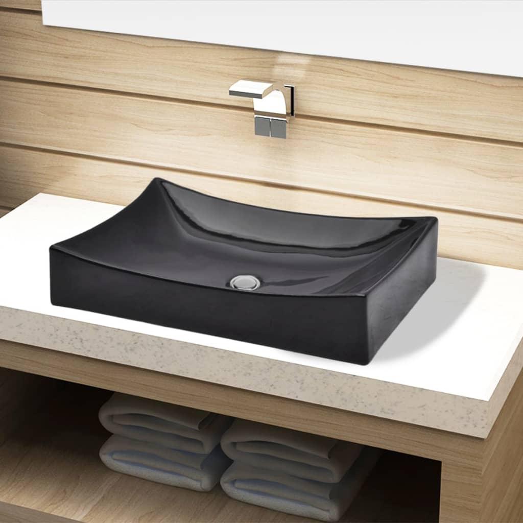 acheter vasque rectangulaire c ramique noir pour salle de bain pas cher. Black Bedroom Furniture Sets. Home Design Ideas