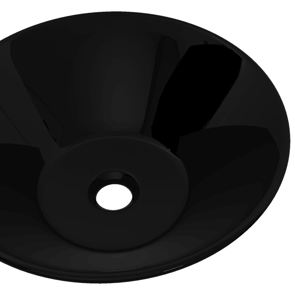 Vidaxl lavandino lavabo da appoggio lavello da bagno in ceramica nera rotondo ebay - Rubinetteria bagno nera ...