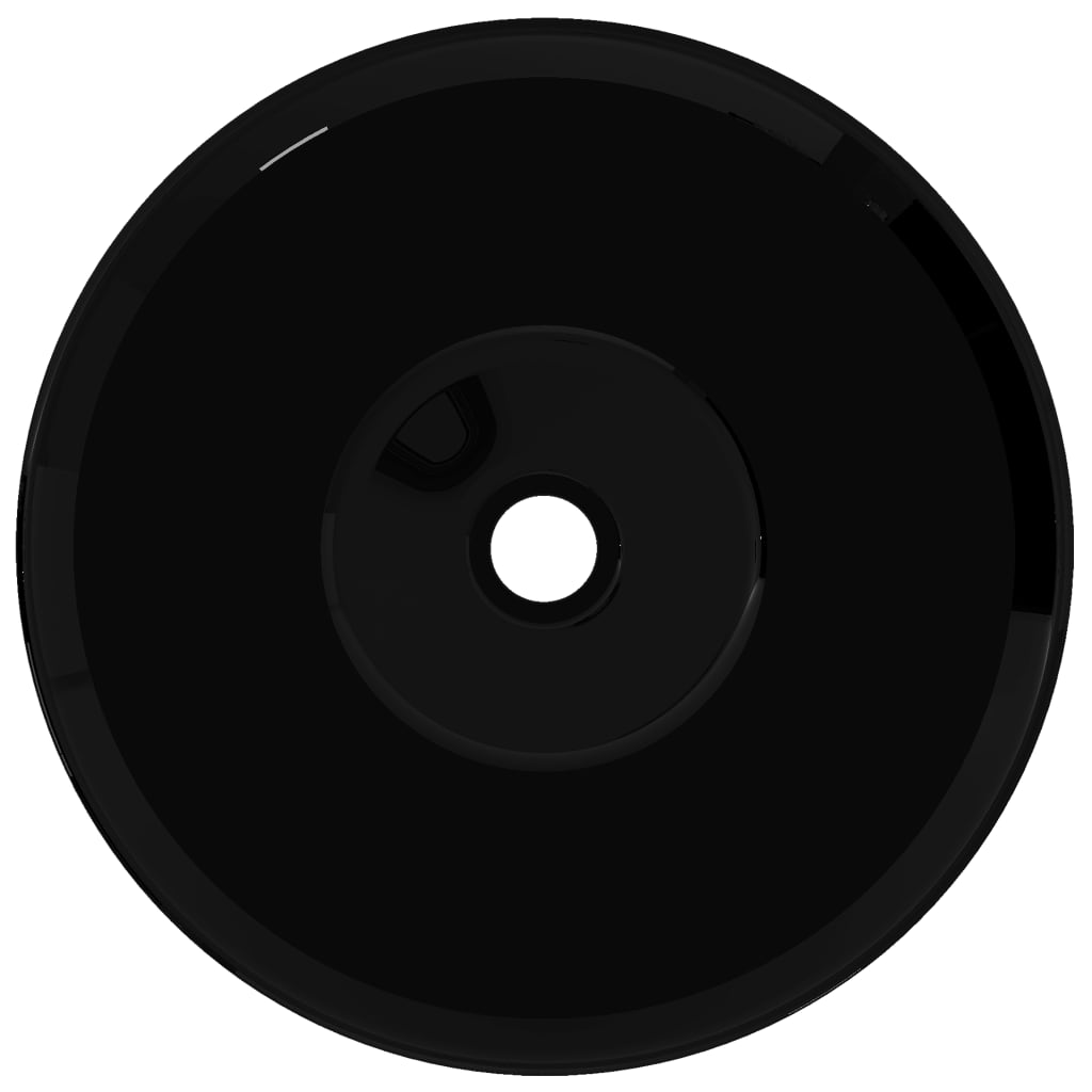 vidaXLnl  Wasbak, keramiek, rond, zwart # Wasbak Rond_101243