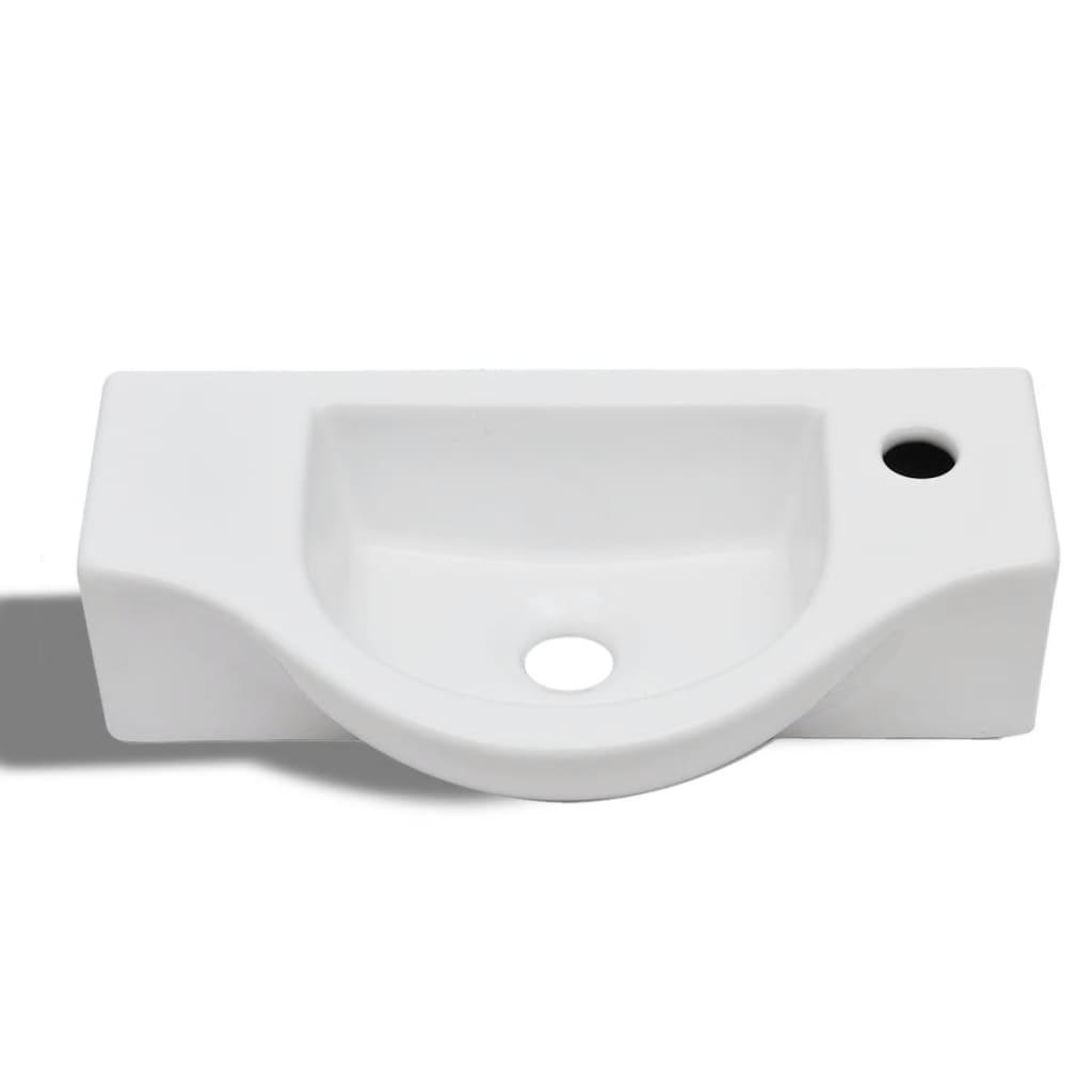 Lavandino bagno in ceramica con foro di scarico bianco - Lavandino bagno nero ...