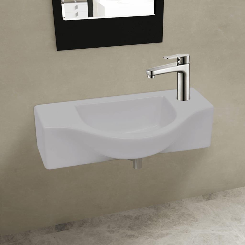 vidaXL Fürdőszoba kerámia mosdó Csaptelep lukkal fehér