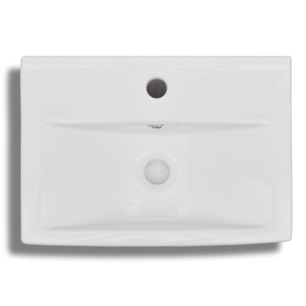 acheter vasque trou de trop plein robinet c ramique pour salle de bain blanc pas cher. Black Bedroom Furniture Sets. Home Design Ideas