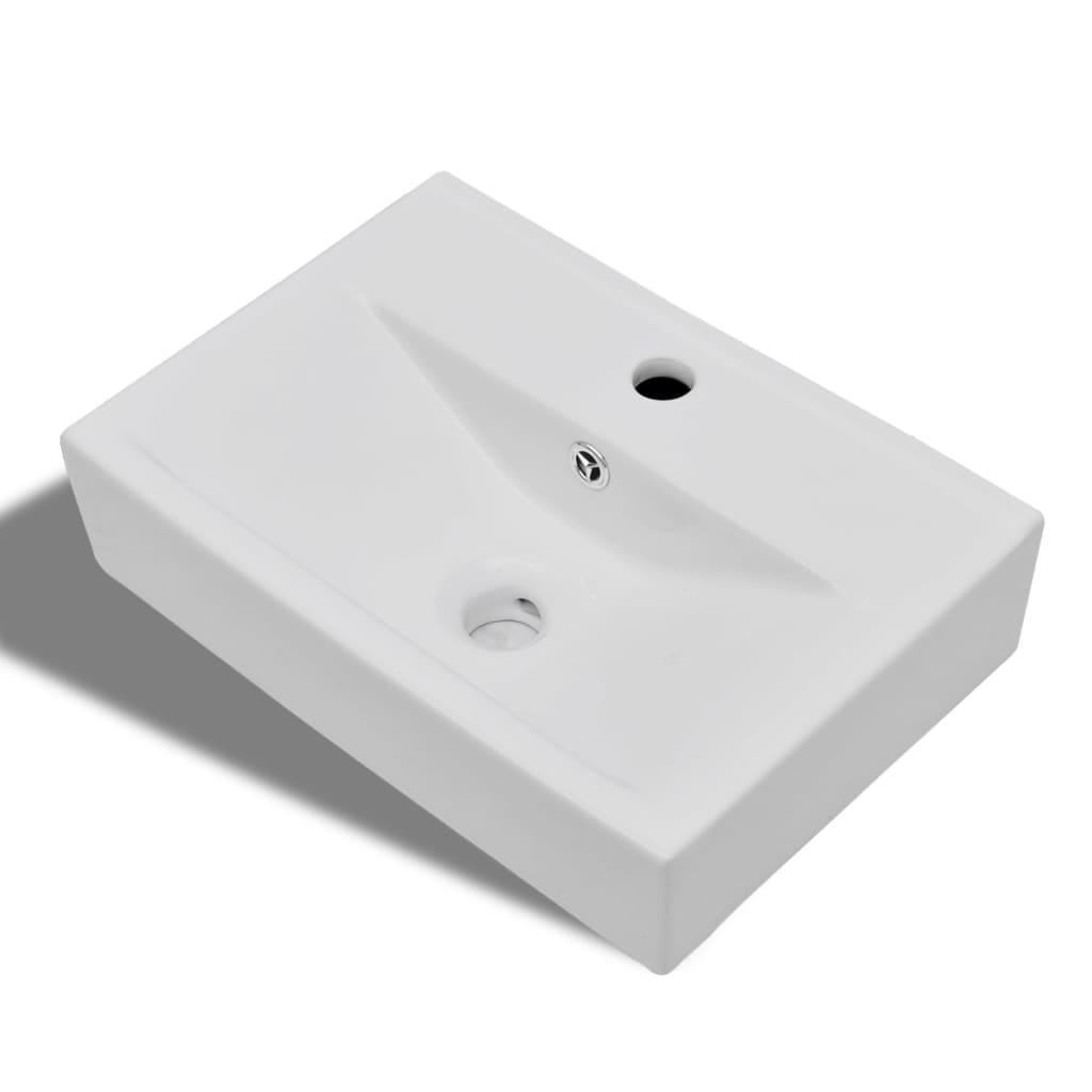 Lavabo de cer mica con agujero para grifo desag e blanco for Lavabo rectangular