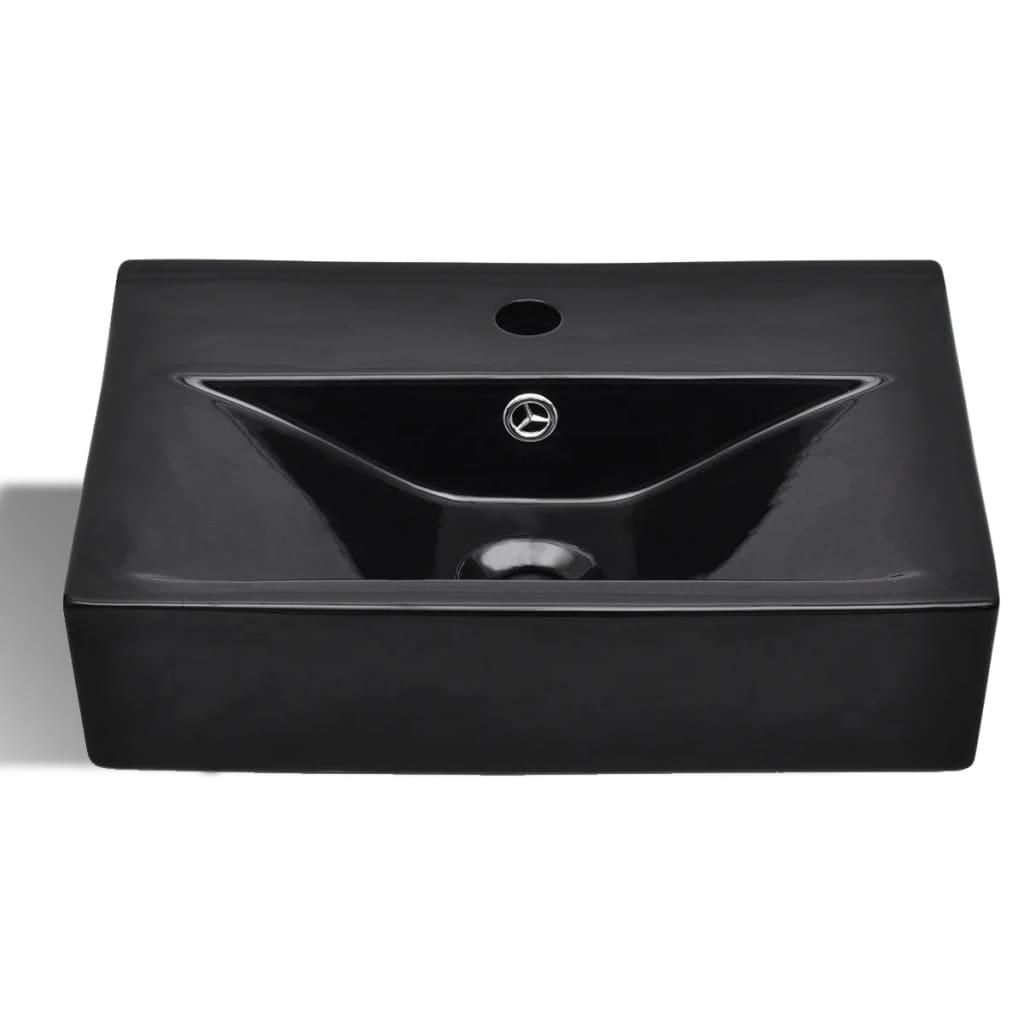vidaXLnl  Wasbak met overloop, keramiek, rechthoekig, zwart # Wasbak Overloop_055632