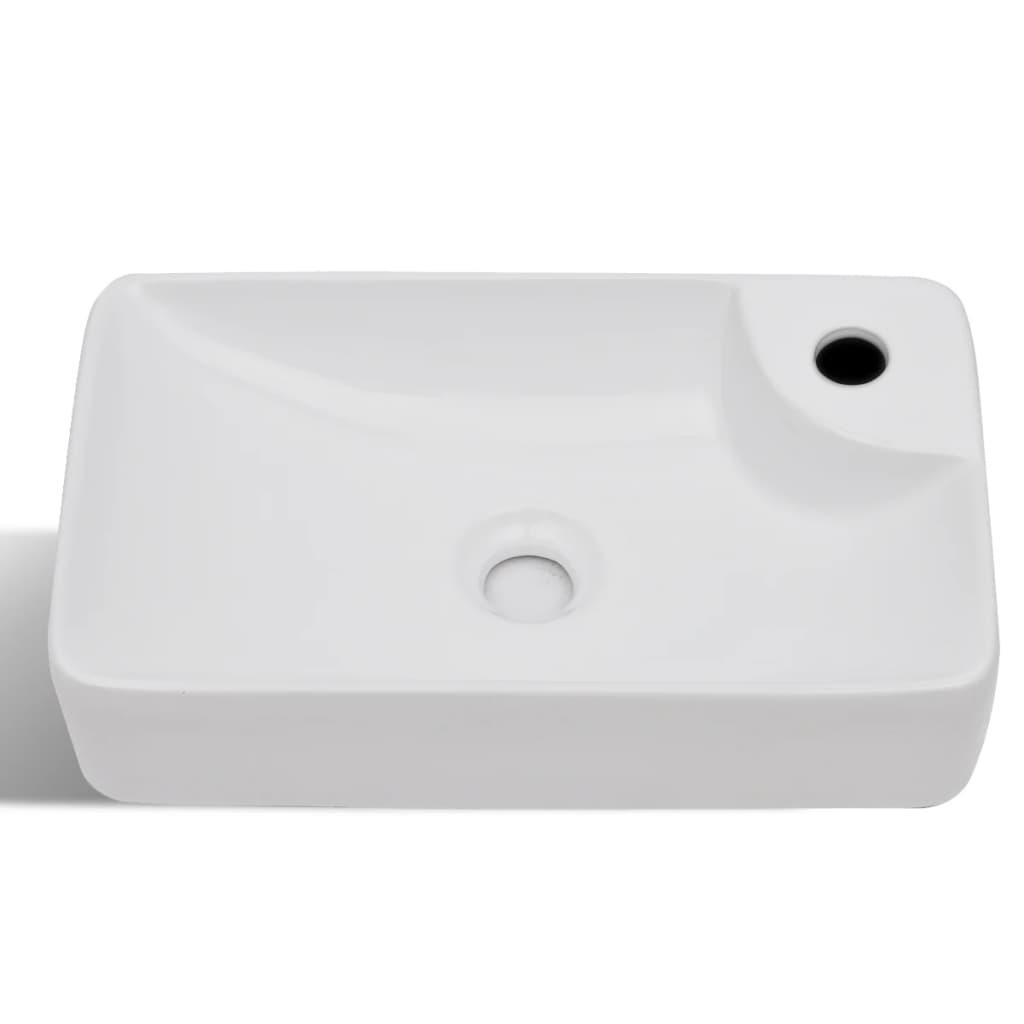la boutique en ligne vasque trou pour robinet c ramique blanc pour salle de bain. Black Bedroom Furniture Sets. Home Design Ideas